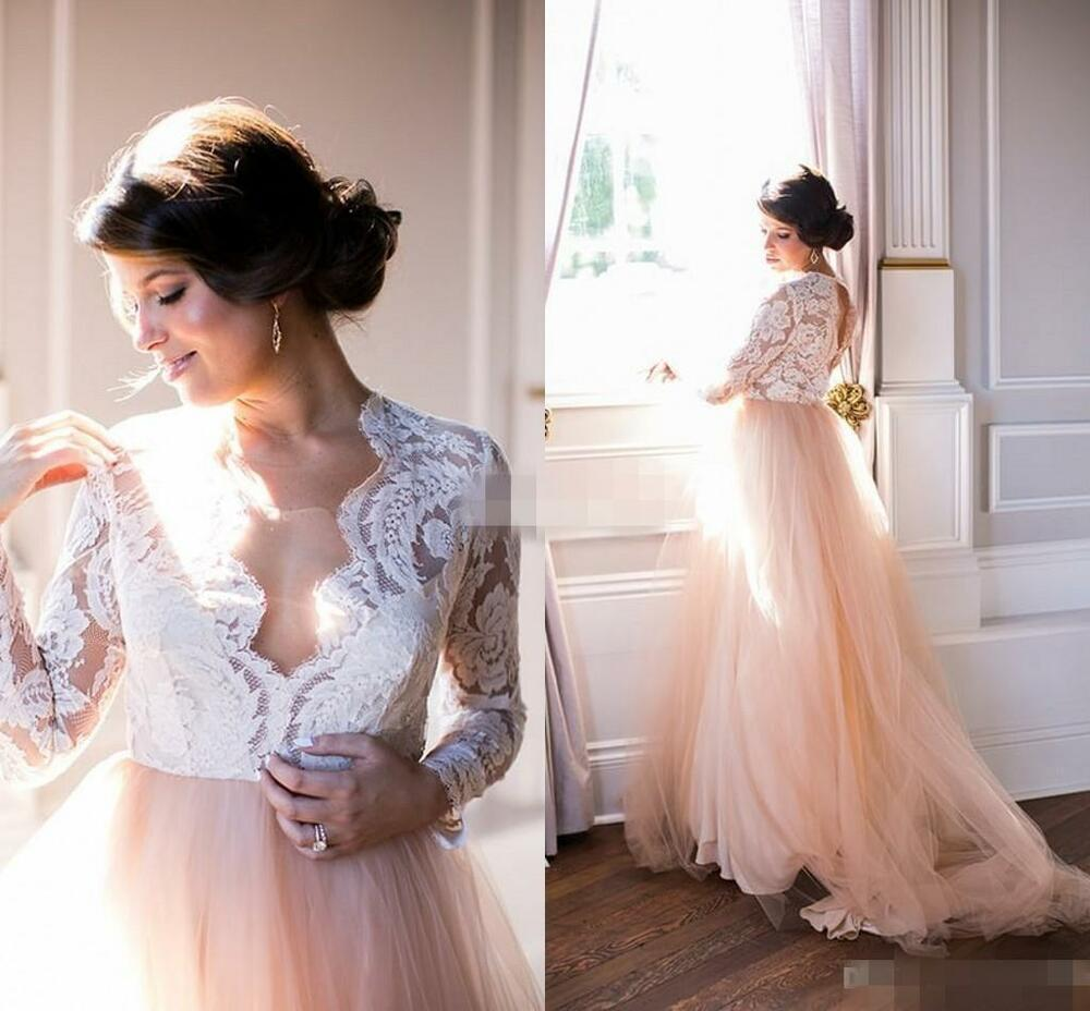Latest long sleeve blush wedding dresses 2016 custom made for A big wedding dress