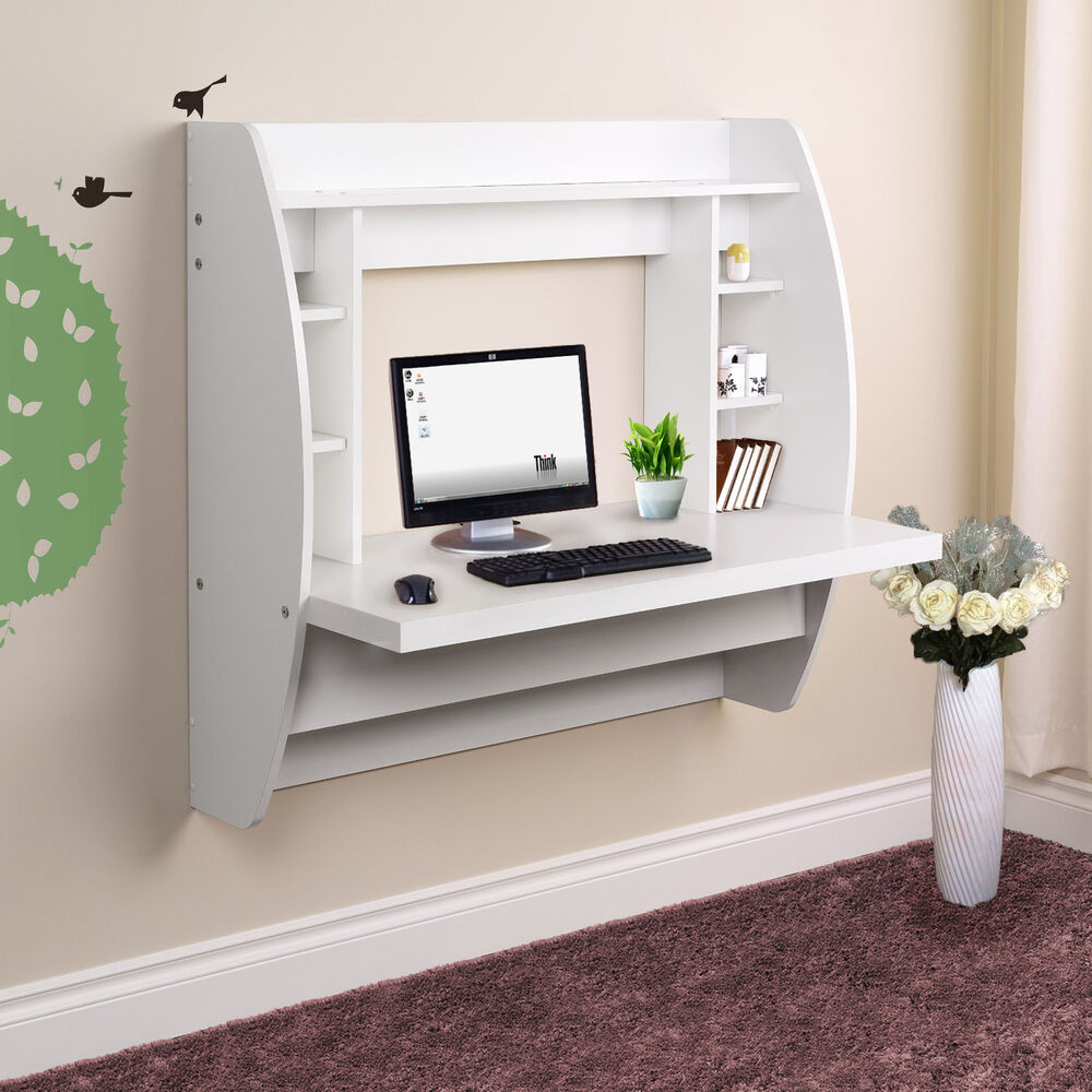 Wall Mounted Floating Computer Desk With Storage Home