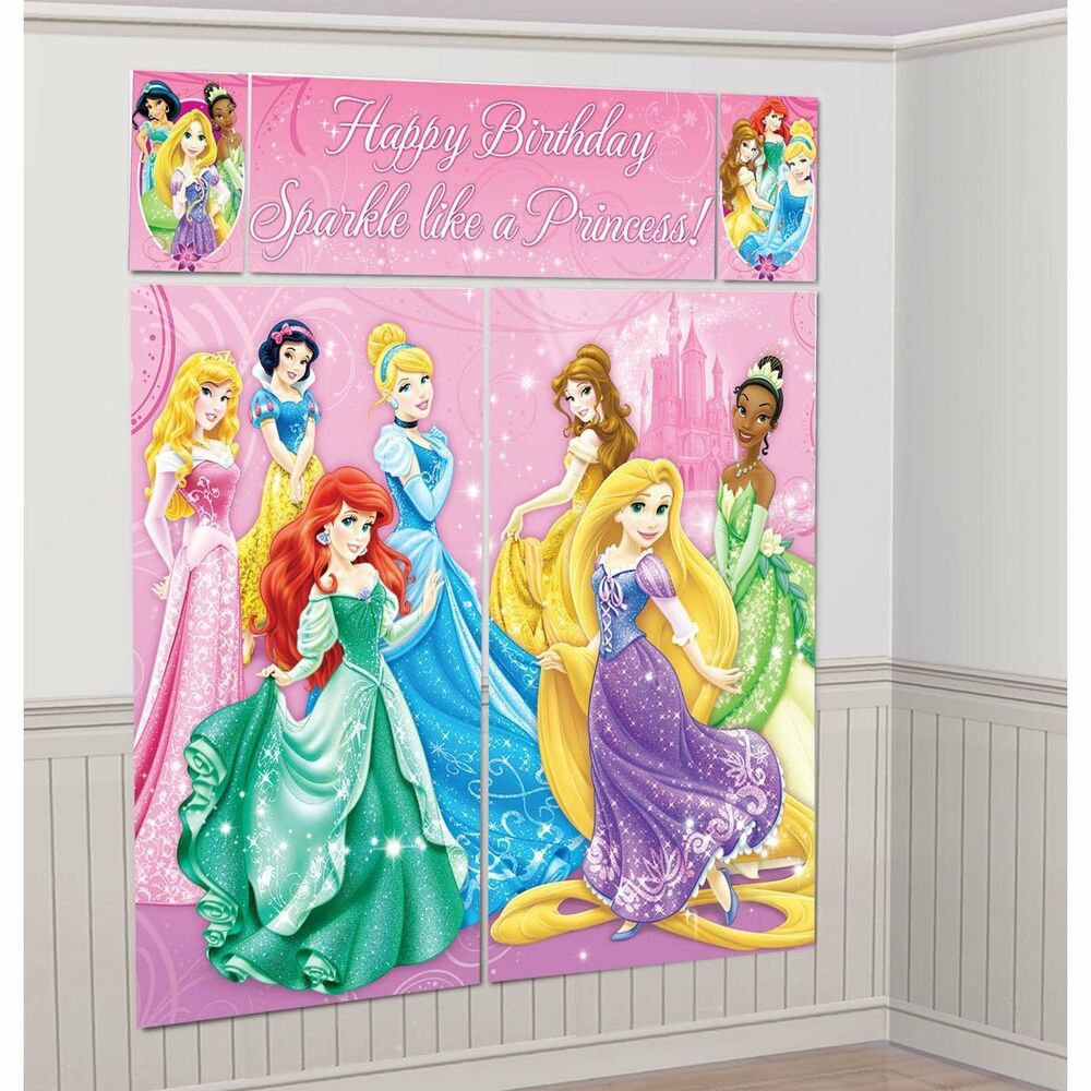5355bb9c0eb Details about DISNEY PRINCESS BIRTHDAY PARTY SUPPLIES SCENE SETTER WALL  POSTER DECORATIONS