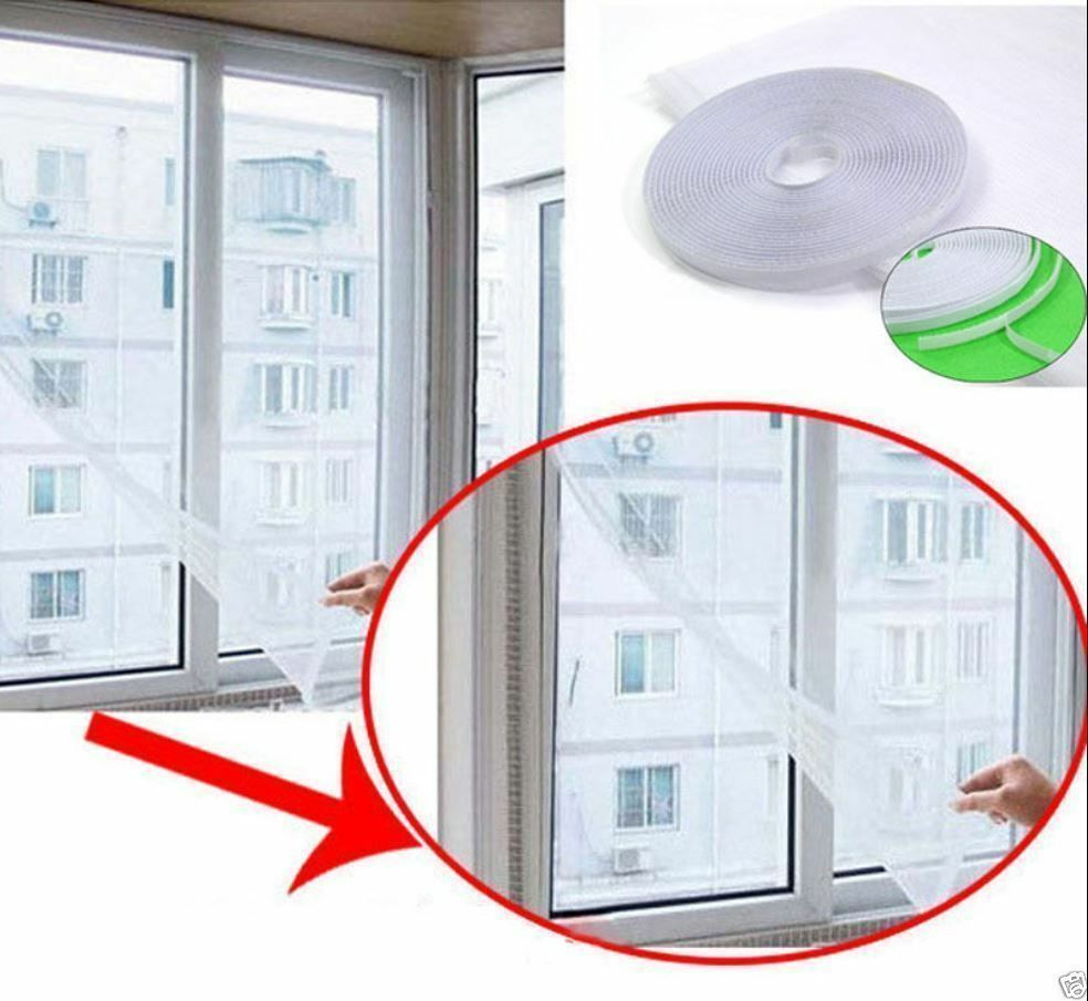 White DIY Insect Fly Bug Mosquito Door Window Net Mesh Screen Curtain ...