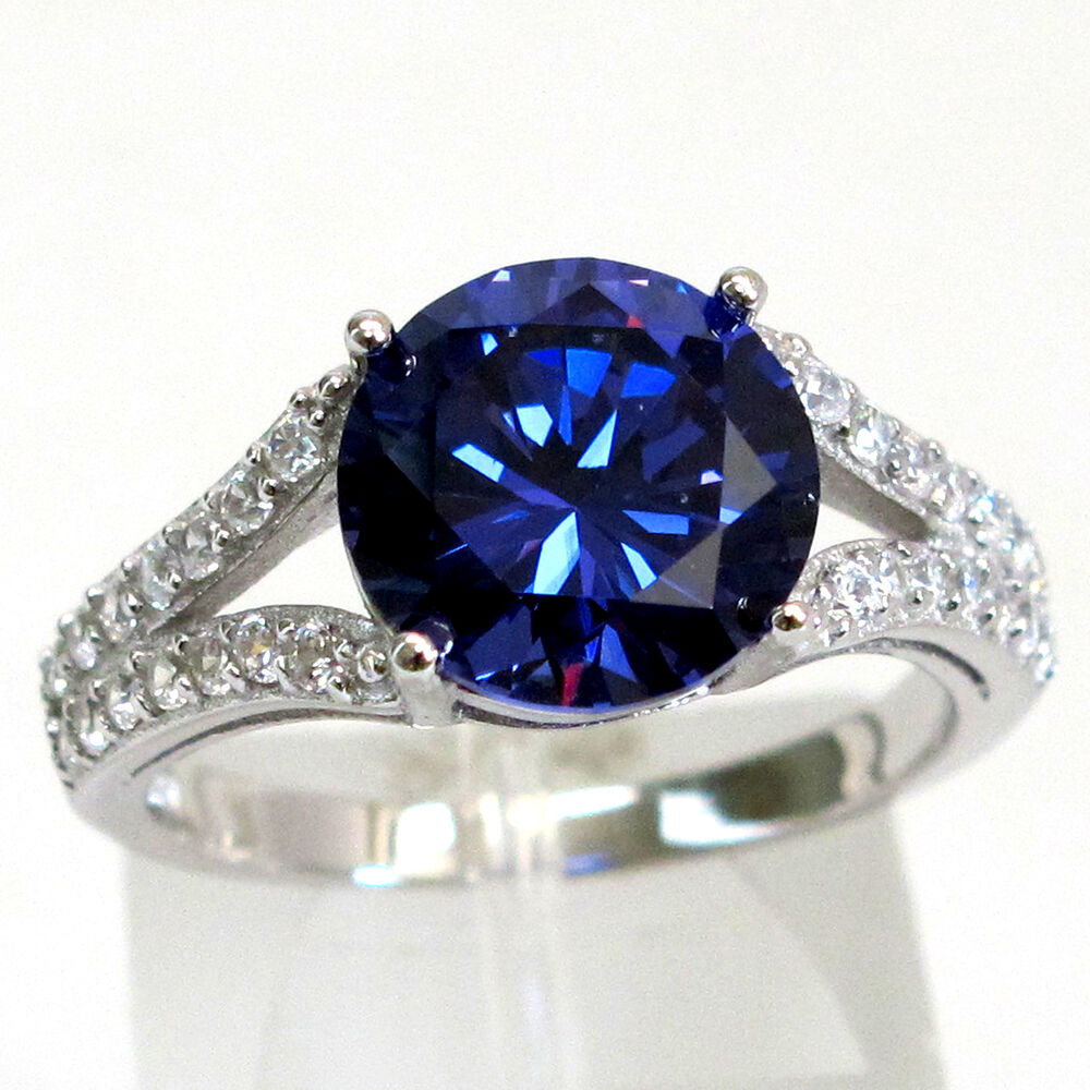 trendy 3 ct tanzanite 925 sterling silver ring size 5 10