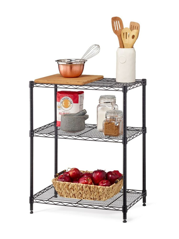 3 Tier Multi Purpose Stackable Wire Shelving Rack Black