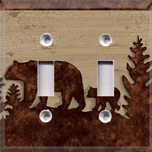 Wildlife silhouette bear buck light switch plate cover for Rustic bear home decor
