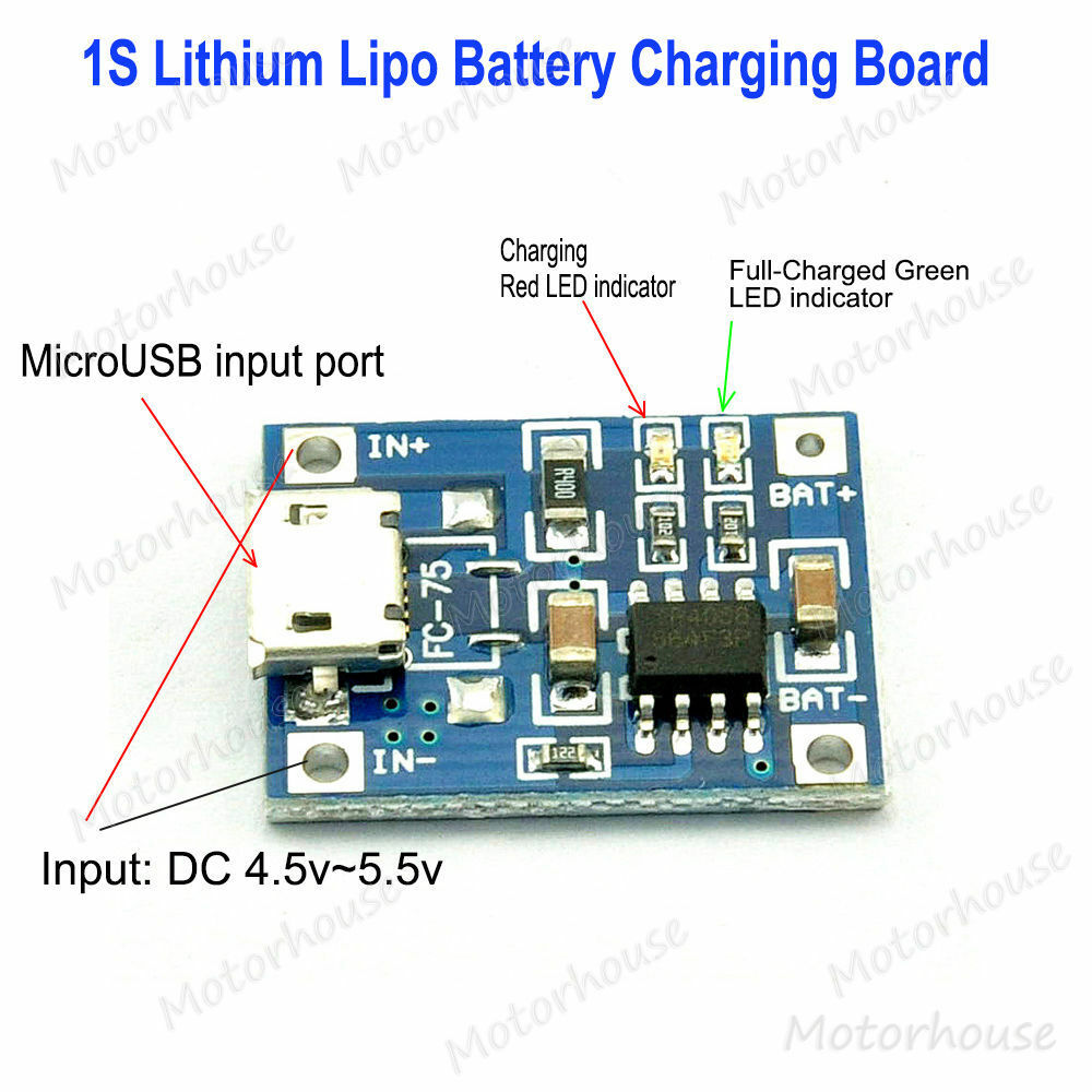 5v Micro Usb 1a Lithium Battery Charging Board Lipo