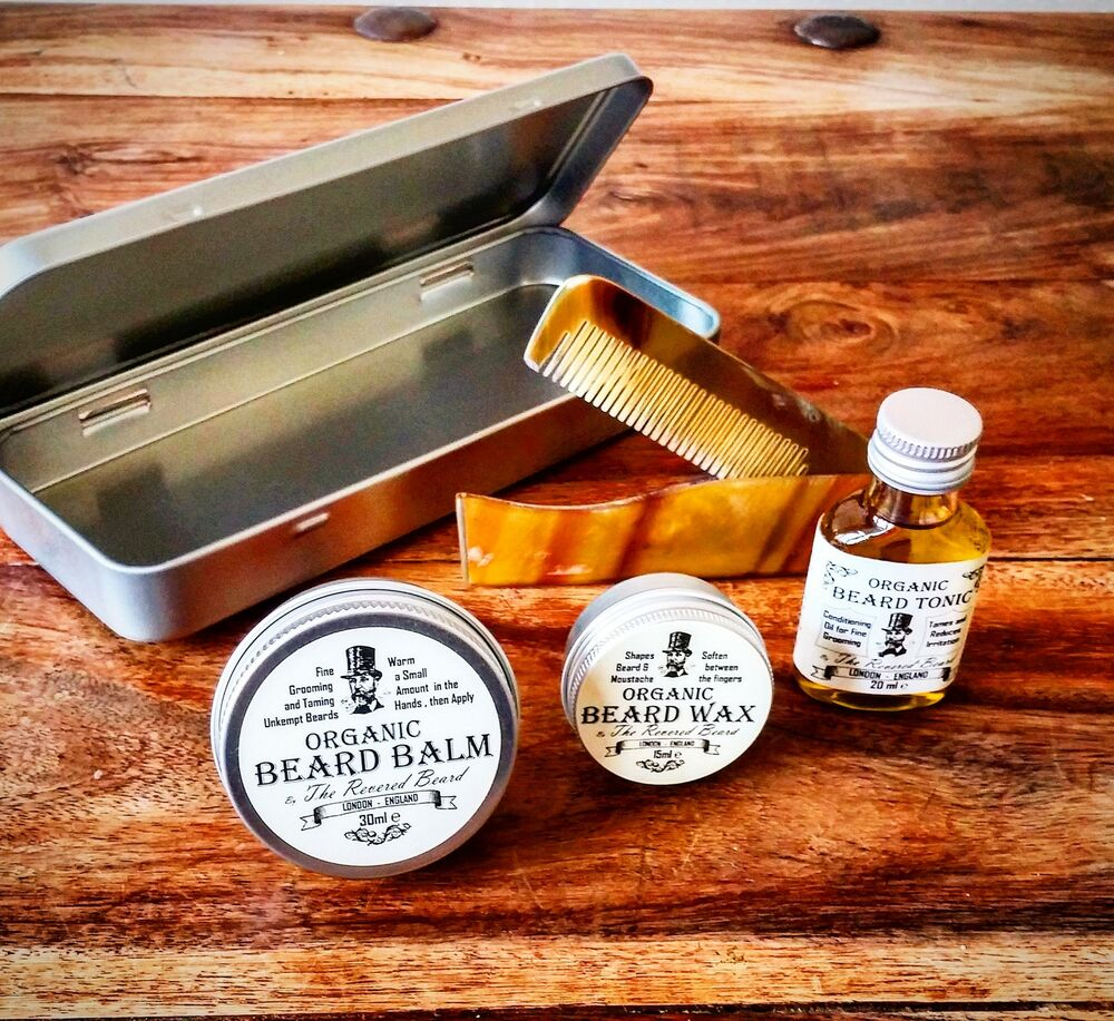 organic beard oil beard balm wax comb tin grooming kit by revered beard ebay. Black Bedroom Furniture Sets. Home Design Ideas