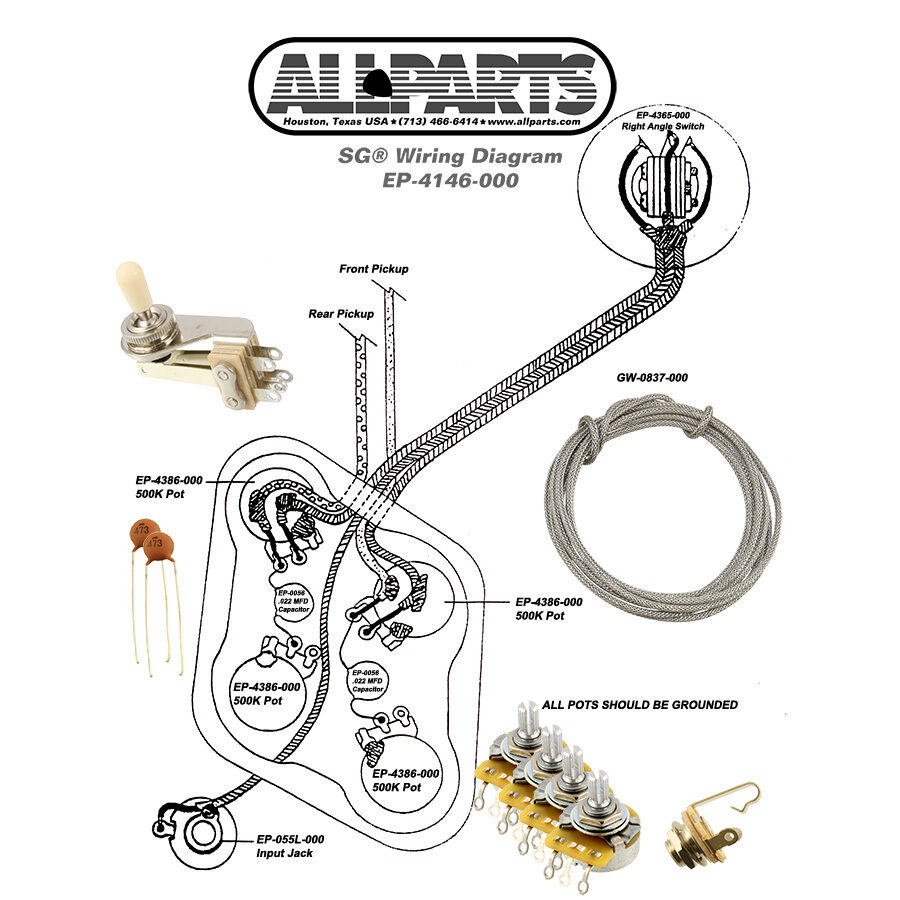 wiring kit for gibson sg guitar complete diagram pots switch wire cts switchcraf ebay. Black Bedroom Furniture Sets. Home Design Ideas