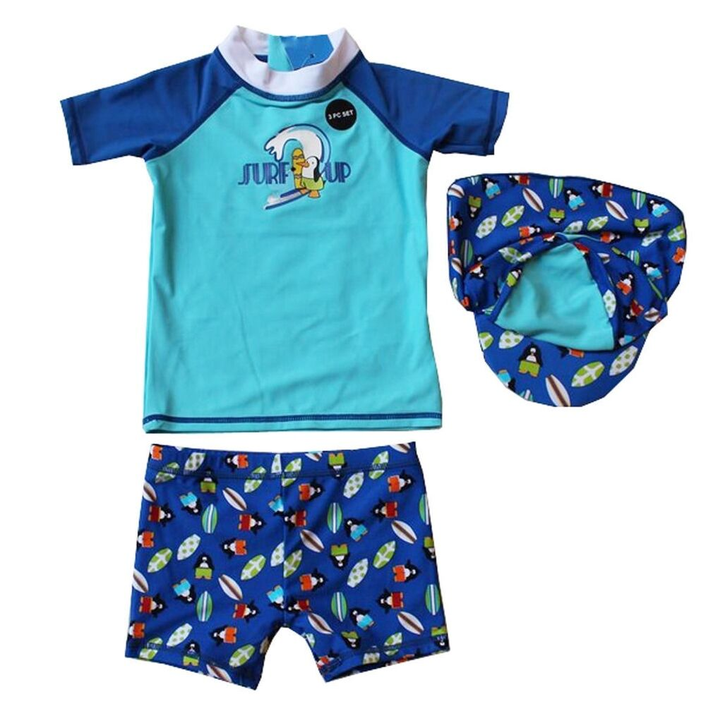 Baby boy uv protection swimwear and sun protection clothing. Includes sunsuit rompers and long sleeve rash guard swimsuit sets with highest rated UPF 50+ sun protection. Swim shirts and swim trunks made with UPF 50+ UV sun protection material.