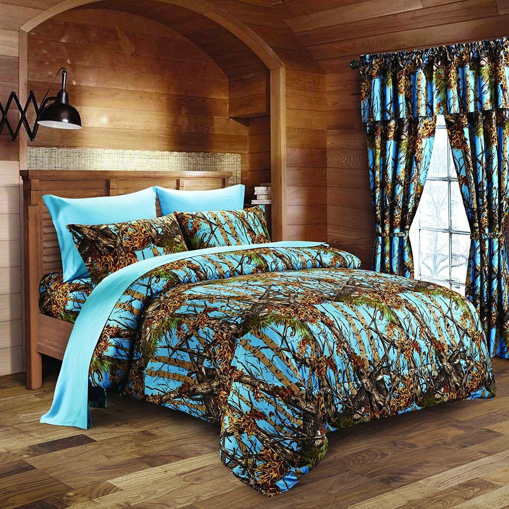 4 PC TWIN POWDER BLUE CAMO COMFORTER AND SHEET SET