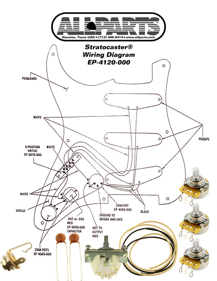 Wiring Kit For Fender Strat Stratocaster U00ae Complete Diagram Crl Cts Switchcraft 691196182894