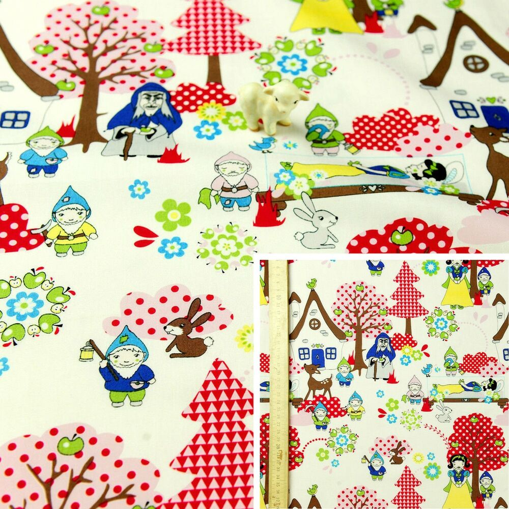 White multi fat quarter meter cotton fabric fq kid for Children s character fabric