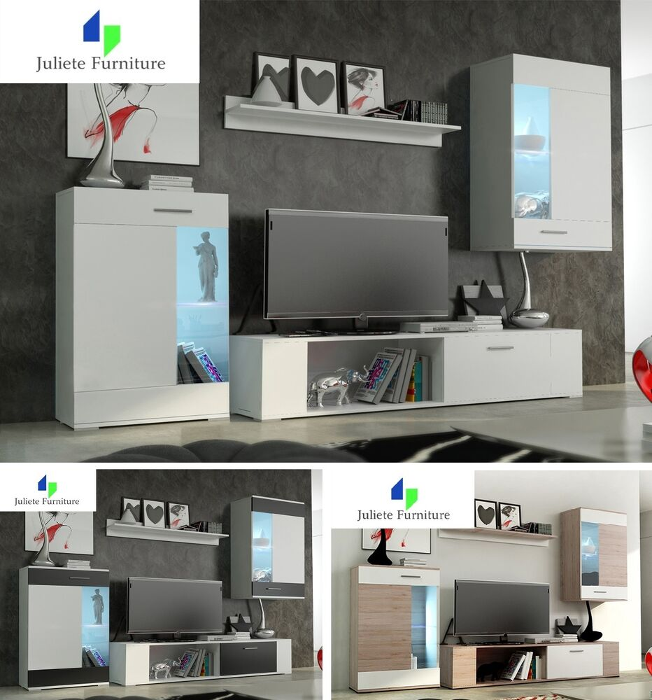 Wall Unit Cabinets Tala 1 3 Colors Hq Living Room Furniture Set Tv Ebay