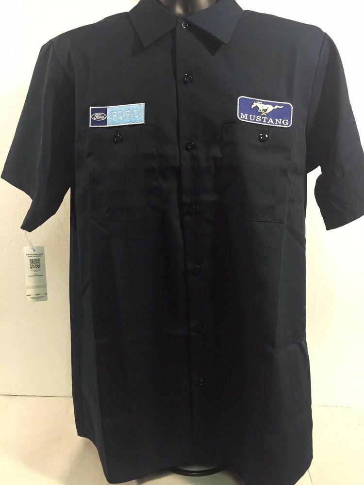 Ford Mustang Mechanic Work Casual Shirt Navy Blue Grill