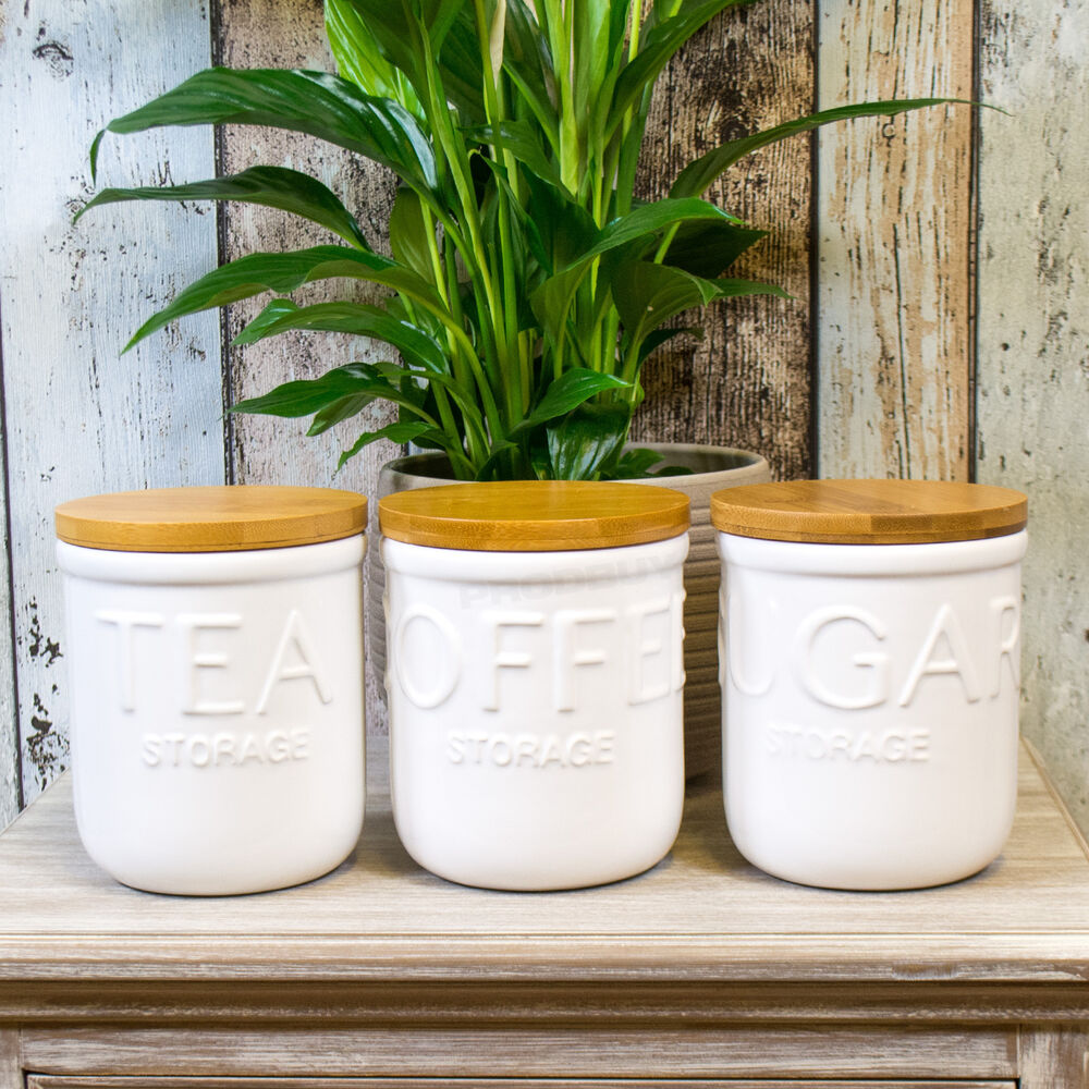 White Ceramic Tea Coffee Sugar Canisters Wooden Lids
