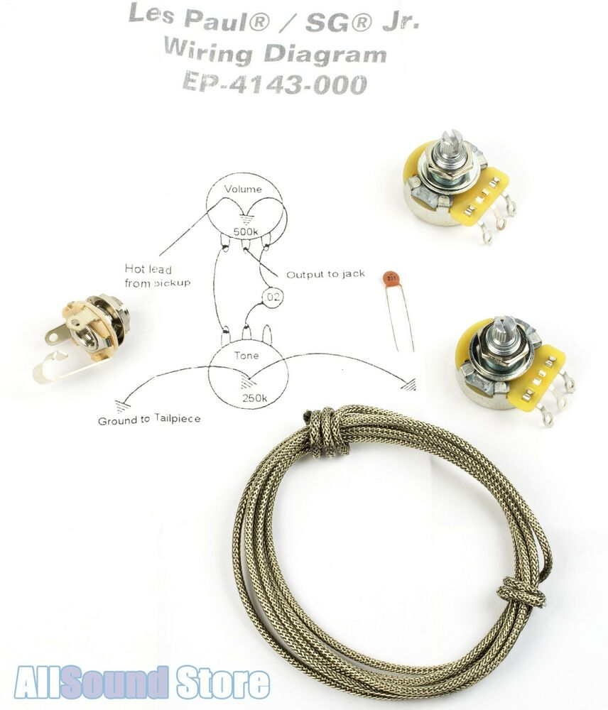 wiring kit for gibson u00ae les paul    sg jr complete w diagram