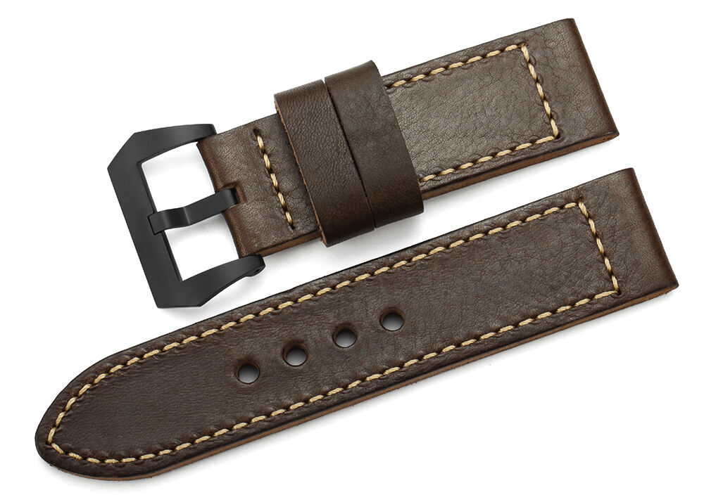 26mm Genuine Leather Wrist Strap Black PVD Tang Buckle ...