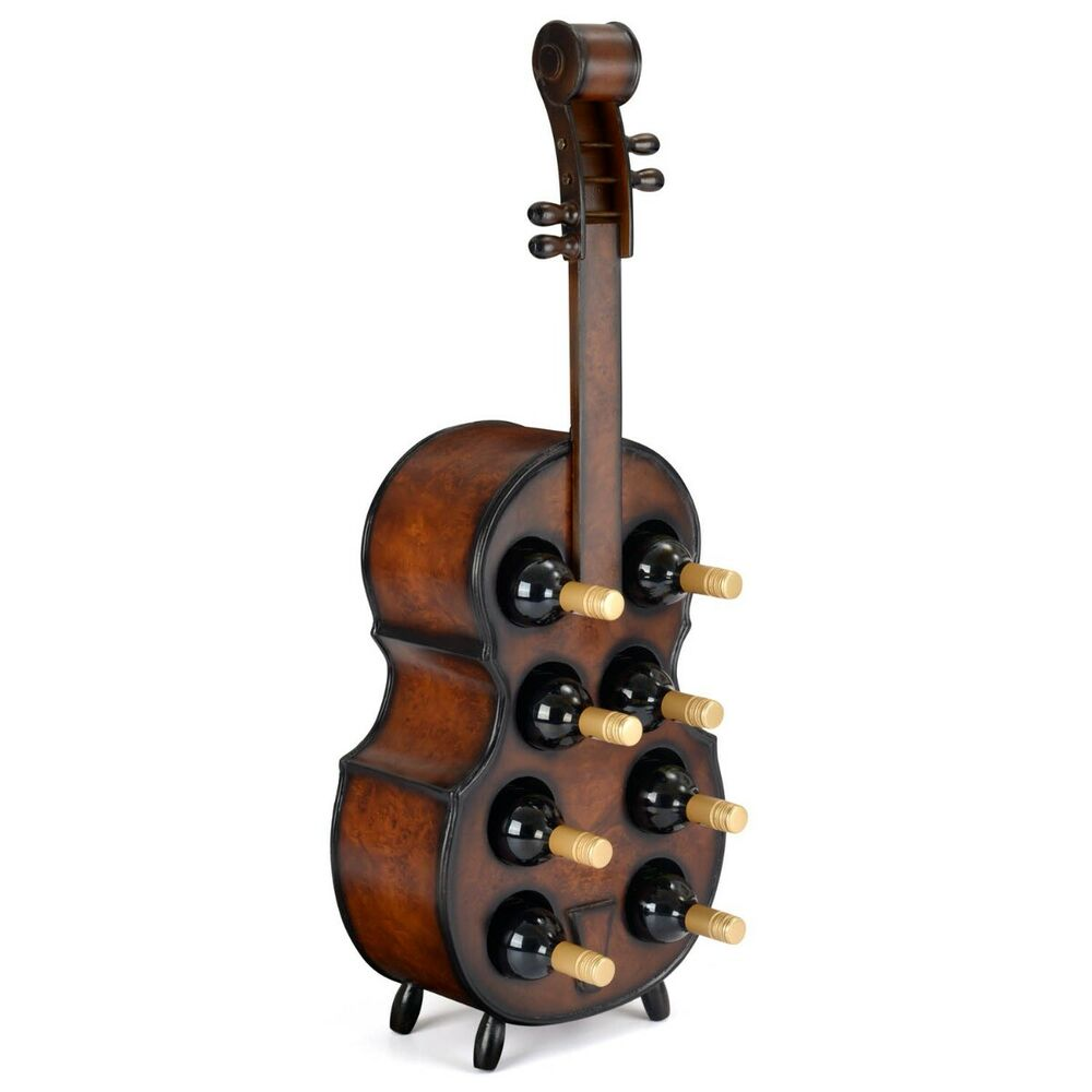 Wood Wine Rack Wooden Violin Bottle Holder Holds 8 Bottles