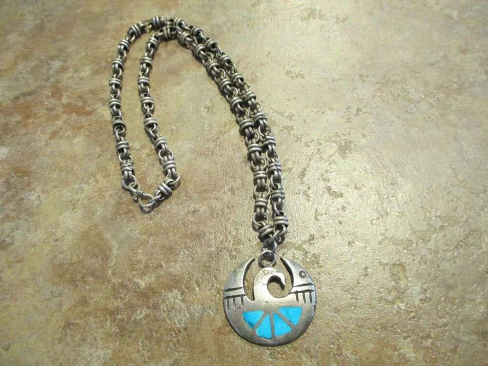 zuni sterling silver necklace inlay turquoise bird