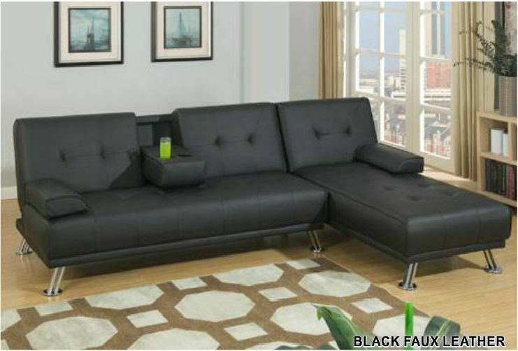 Lounge Retro Style Black Faux Leather Adjustable Sofa