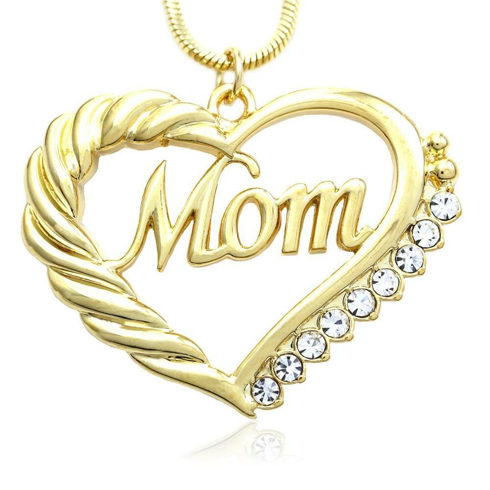 Gold tone heart mom necklace love pendant women mothers for L love jewelry reviews