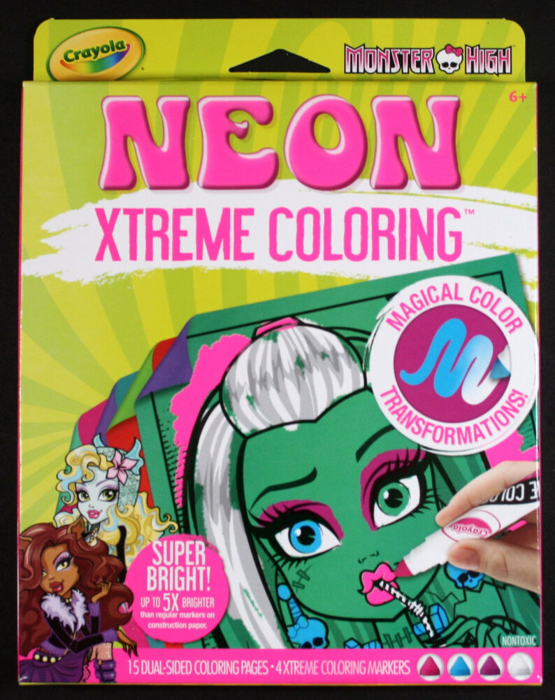 Crayola Monster High Neon Xtreme Coloring Markers Paper Brand New