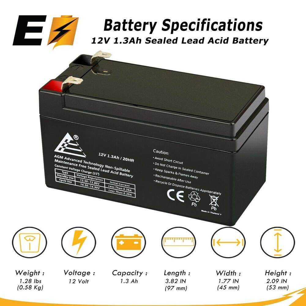 12v 1 3ah battery replaces ps1212 rechargeable sla battery ebay. Black Bedroom Furniture Sets. Home Design Ideas