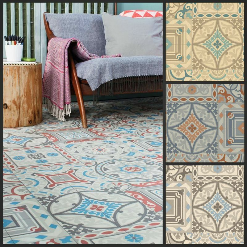 moroccan style vinyl flooring sheet cushion floor kitchen bathroom lino roll ebay. Black Bedroom Furniture Sets. Home Design Ideas