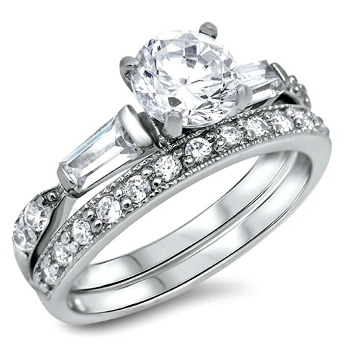 Wedding Ring Sets Sterling Silver: .925 Sterling Silver Wedding Ring Set Size 9 Engagement CZ