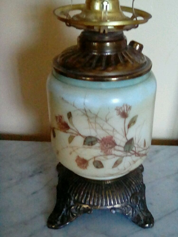 Antique Queen Anne No 2 Electrified Oil Lamp Needs Work