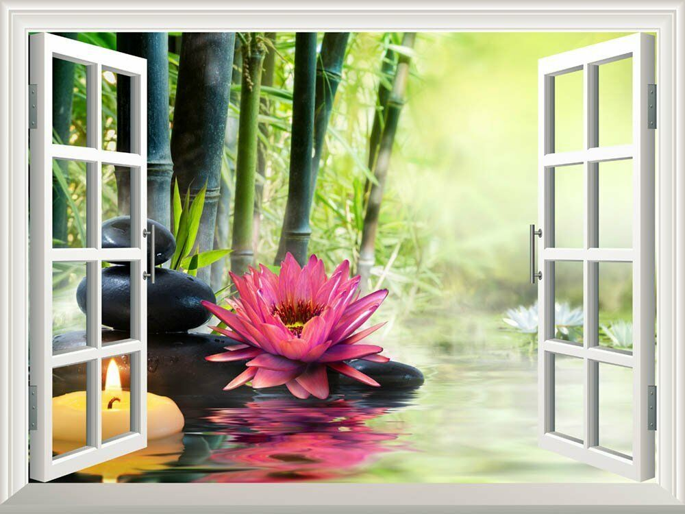 wall mural massage in nature lily stones bamboo zen concept 24 x32 ebay. Black Bedroom Furniture Sets. Home Design Ideas