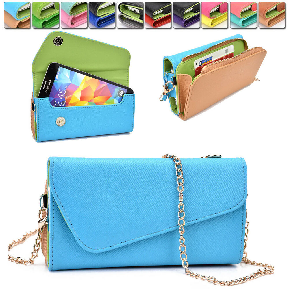 Womens PU Leather Wallet Case Cover u0026 Crossbody Clutch for Smart ...