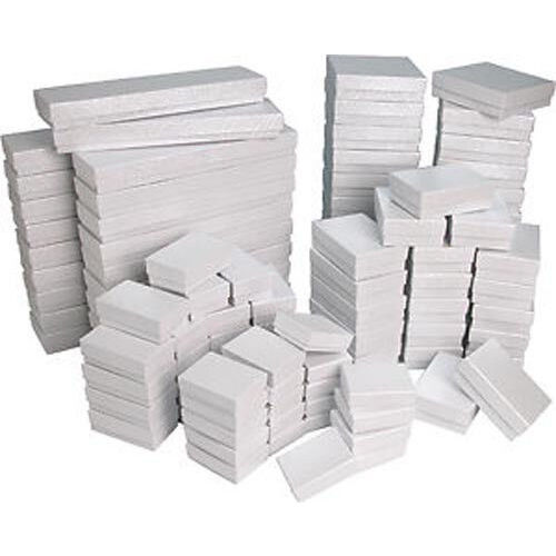White Swirl Cotton Filled Gift Boxes Jewelry Cardboard Box Lots of 12~25~50~100