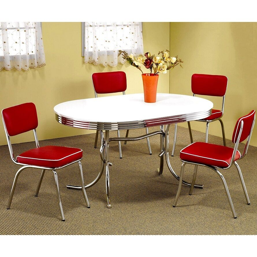 Black And White Retro Dining Table And Chairs Set: Oval Retro 50's 7 Piece Red Chairs Dining Sets Table White