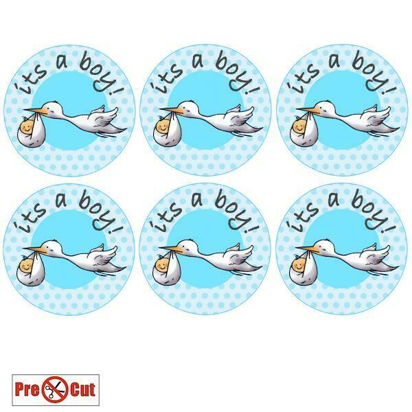 40 its a Boy Stork Baby Shower Cupcake Cake Toppers Edible ...