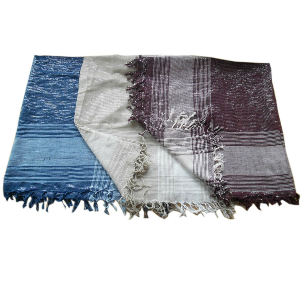 large 90cm square cotton silver thread scarf scarves 3