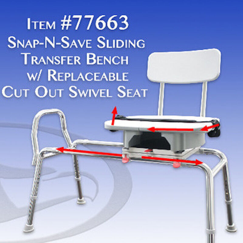 New Sliding Shower Bath Swivel Transfer Bench Chair Cut