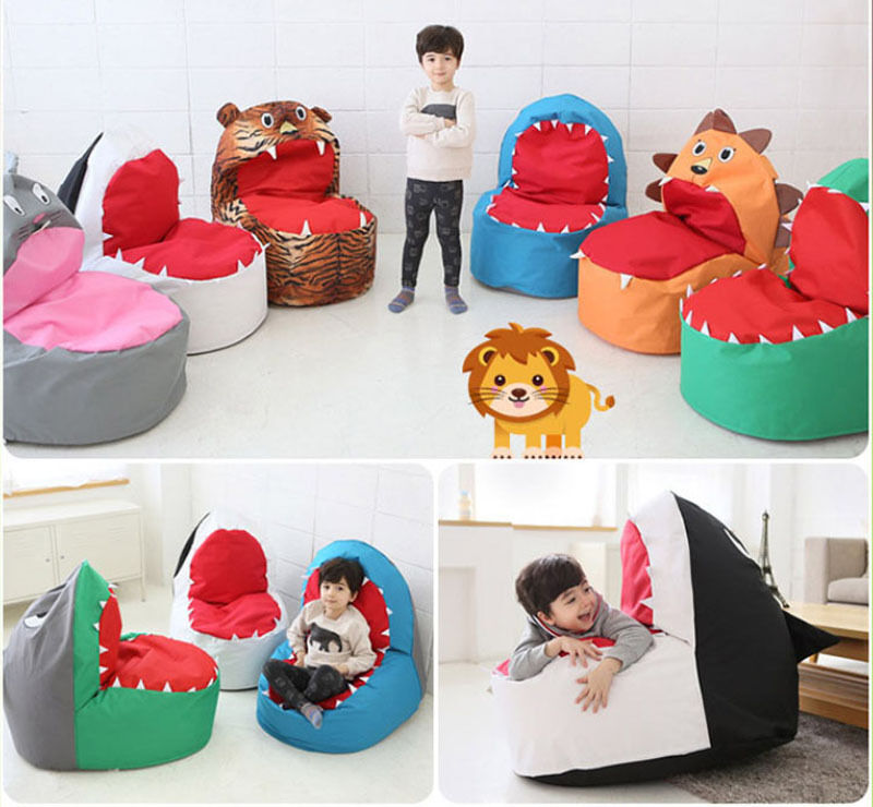Baby Infant Toddler Kids Bean Bag Chair Sofa Safari Character Shark Tiger Lion