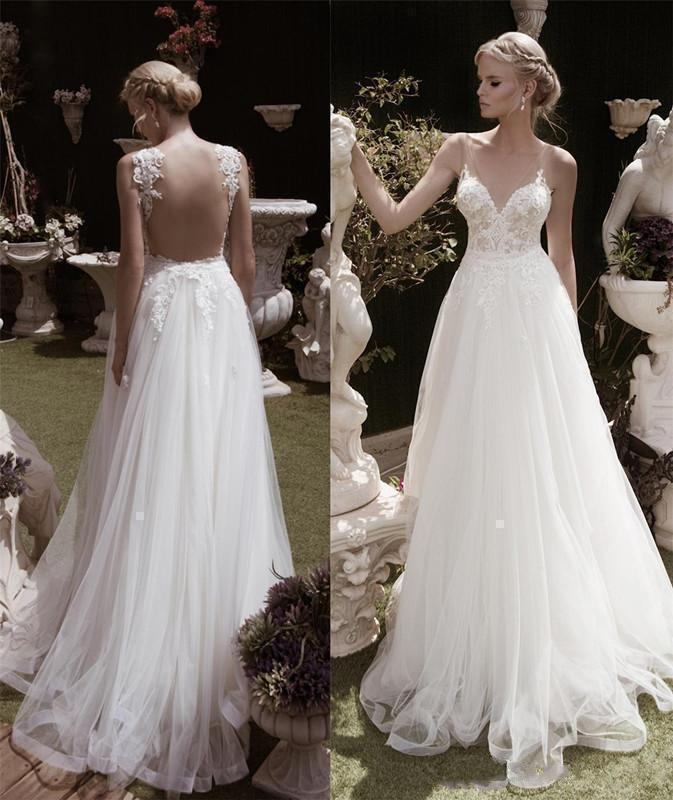 Backless Wedding Gowns For Sale: Elegant A Line Backless White Ivory Lace Tulle Bridal Gown