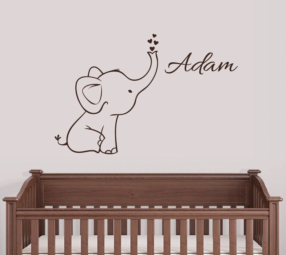 Wall Art Decals For Nursery : Personalized elephant wall decal nursery decor