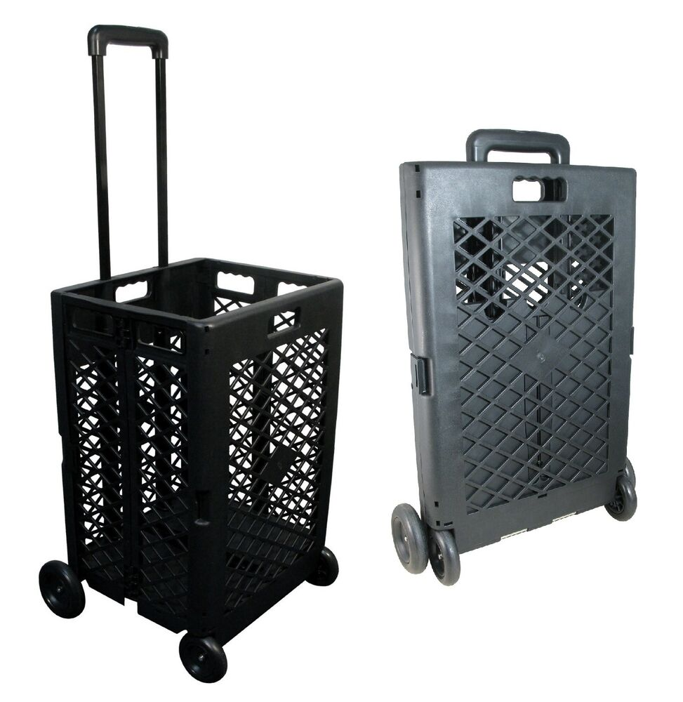 Foldable Rolling Cart Portable Utility Mesh Basket Roll