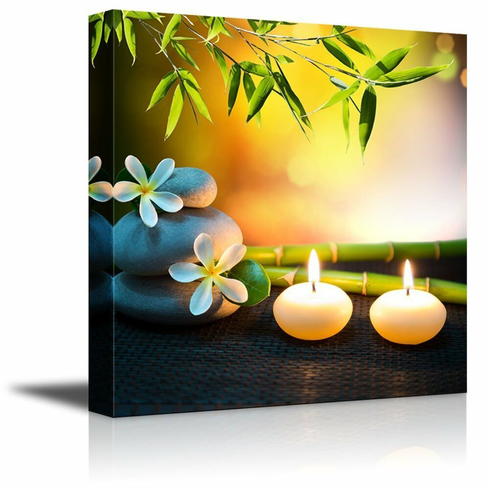 Canvas prints wall art relaxing spa with zen stones for Spa wall decor