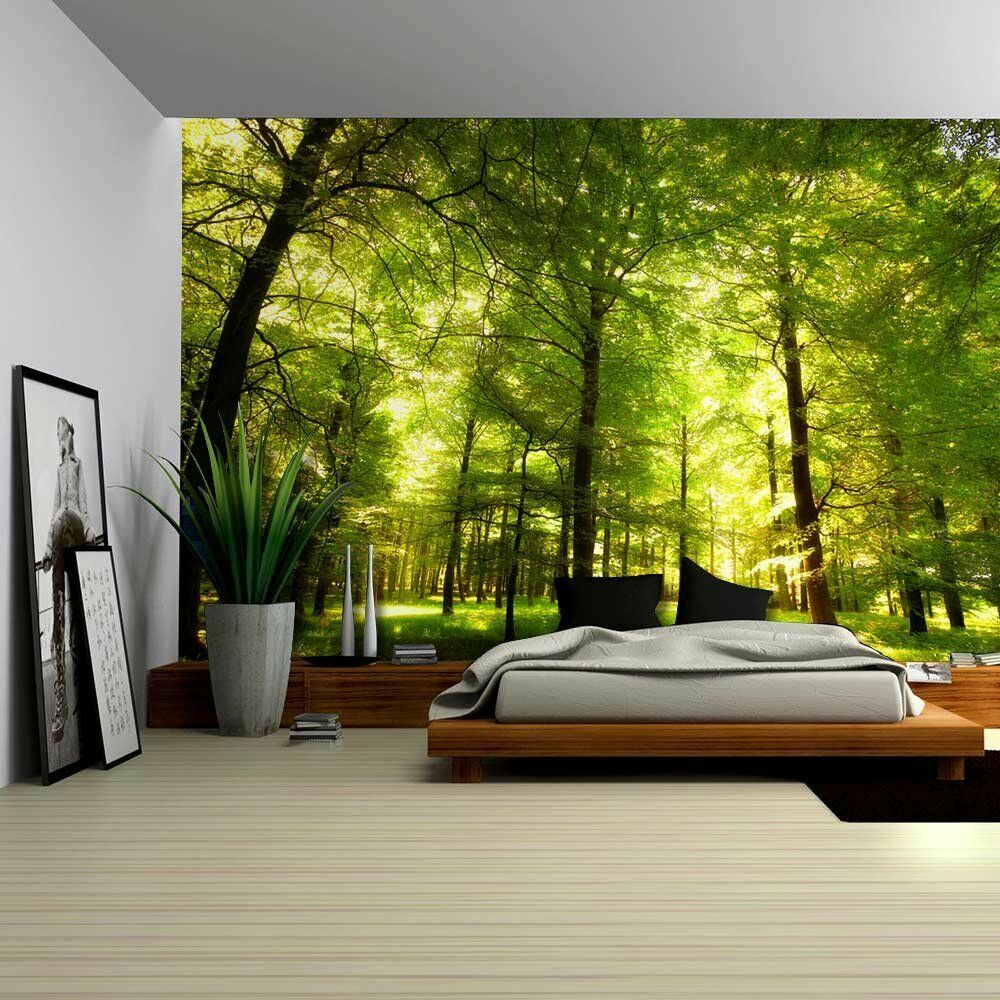 crowded forest mural wall mural removable sticker home decor 100x144 inches ebay. Black Bedroom Furniture Sets. Home Design Ideas