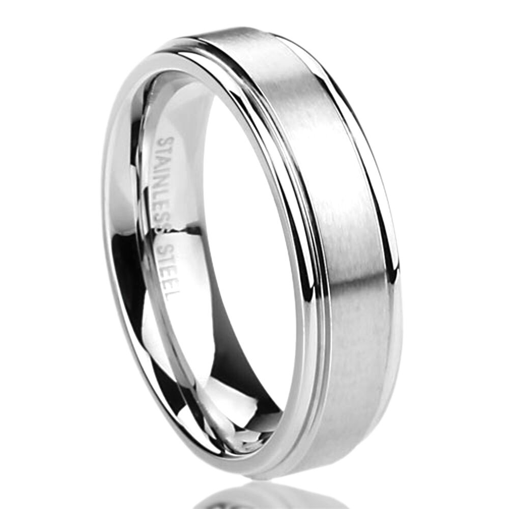 Men Women 6MM Surgical Stainless Steel Wedding Band Brushed Center Domed Ring