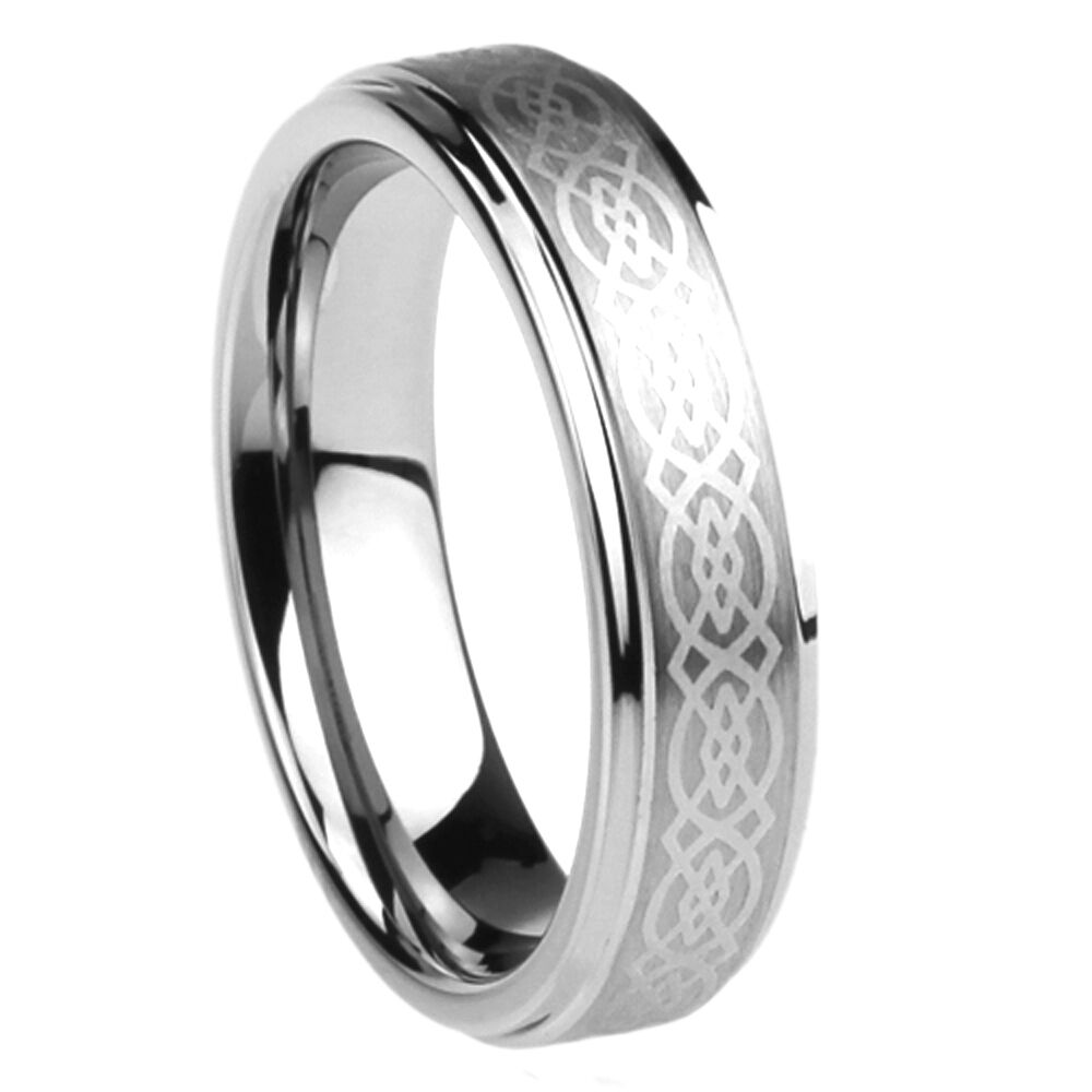 6mm surgical stainless steel wedding band celtic