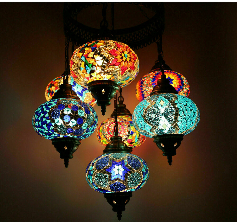 Turkish Moroccan Style Mosaic Multicolour Hanging Lamp