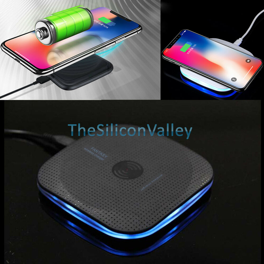 qi wireless fast charger charging pad for samsung galaxy s8 s8 plus s7 s6 lg g6 ebay. Black Bedroom Furniture Sets. Home Design Ideas