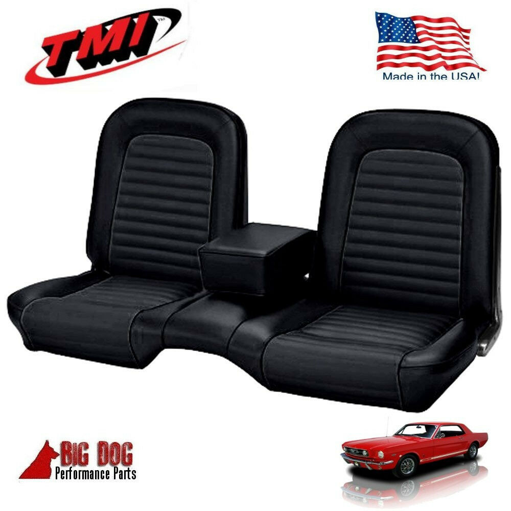 19641 2 1965 ford mustang black front bench seat upholstery made in usa by tmi ebay. Black Bedroom Furniture Sets. Home Design Ideas
