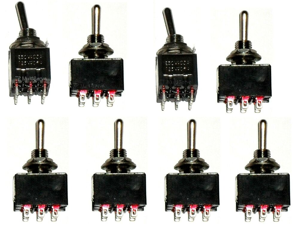 8 On  Off  On 3pdt Miniature Toggle Switch Three Pole Double