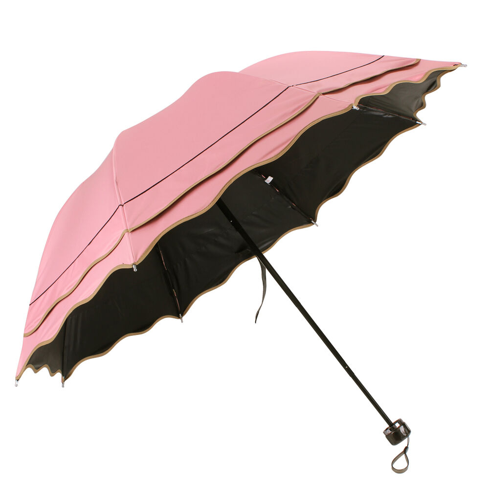 fashion windproof anti uv rain sun flouncing compact folding parasol umbrella ebay. Black Bedroom Furniture Sets. Home Design Ideas