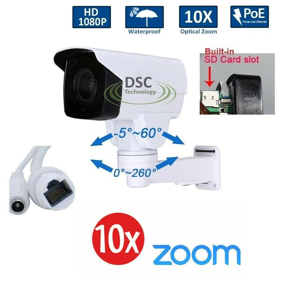 cctv 1080p mini outdoor ir bullet ip ptz camera 10x optical zoom poe 2m hd onvif ebay. Black Bedroom Furniture Sets. Home Design Ideas
