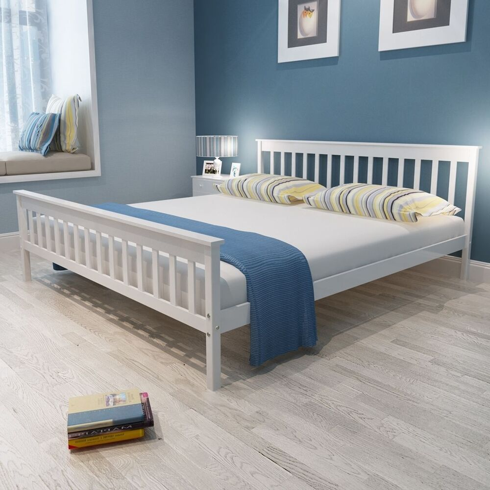 Details about super king size white bed frame classic pine wood sturdy slats bedroom furniture